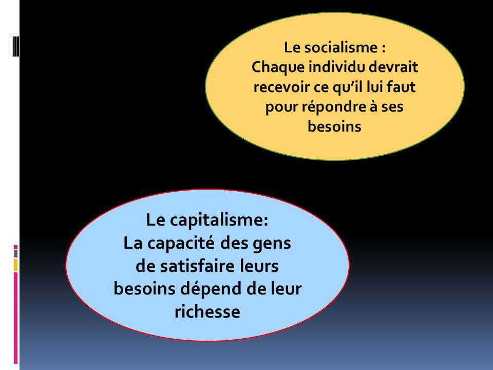 Le socialisme : Chaque individu devrait recevoir ce quil lui faut pour répondre à ses besoins Le capitalisme: La capacité des gens de satisfaire leurs
