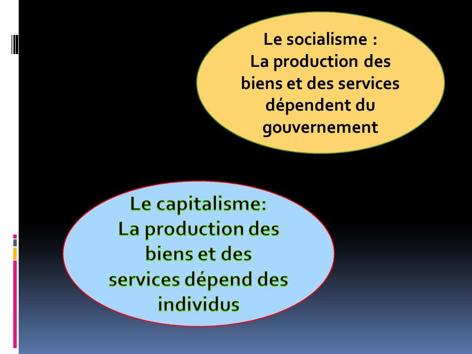 Le socialisme : Chaque individu devrait recevoir ce quil lui faut pour répondre à ses besoins Le capitalisme: La capacité des gens de satisfaire leurs besoins dépend de leur richesse