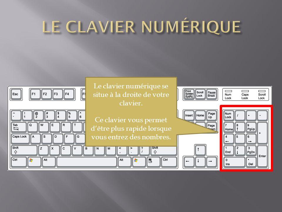 Le clavier numérique se situe à la droite de votre clavier. Ce clavier vous permet dêtre plus rapide lorsque vous entrez des nombres.