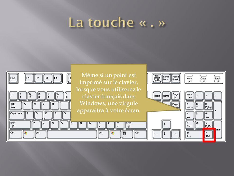 Même si un point est imprimé sur le clavier, lorsque vous utiliserez le clavier français dans Windows, une virgule apparaitra à votre écran.