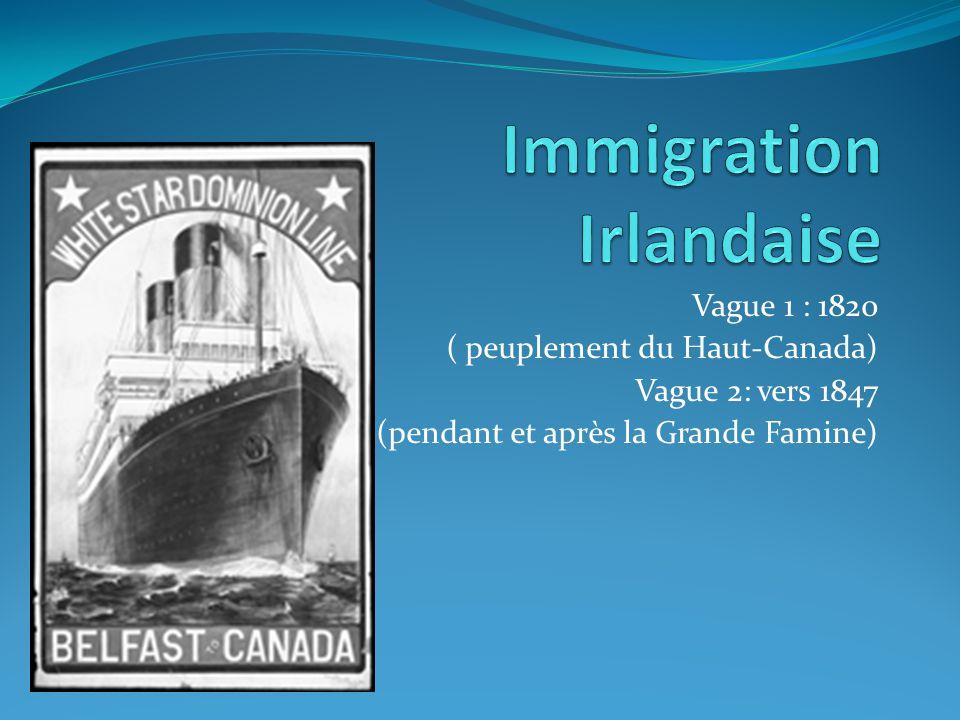 Vague 1 : 1820 ( peuplement du Haut-Canada) Vague 2: vers 1847 (pendant et après la Grande Famine)