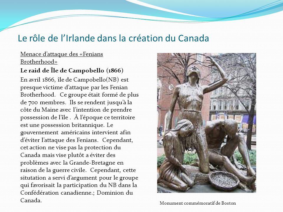 Le rôle de lIrlande dans la création du Canada Menace dattaque des «Fenians Brotherhood» Le raid de Île de Campobello (1866) En avril 1866, île de Cam