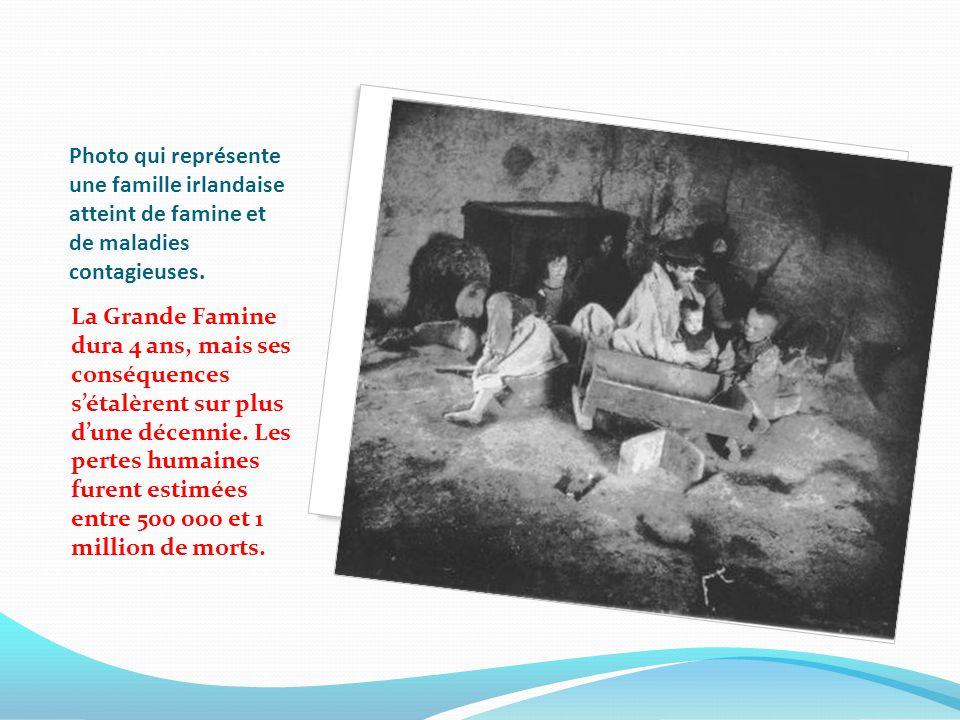 Photo qui représente une famille irlandaise atteint de famine et de maladies contagieuses. La Grande Famine dura 4 ans, mais ses conséquences sétalère