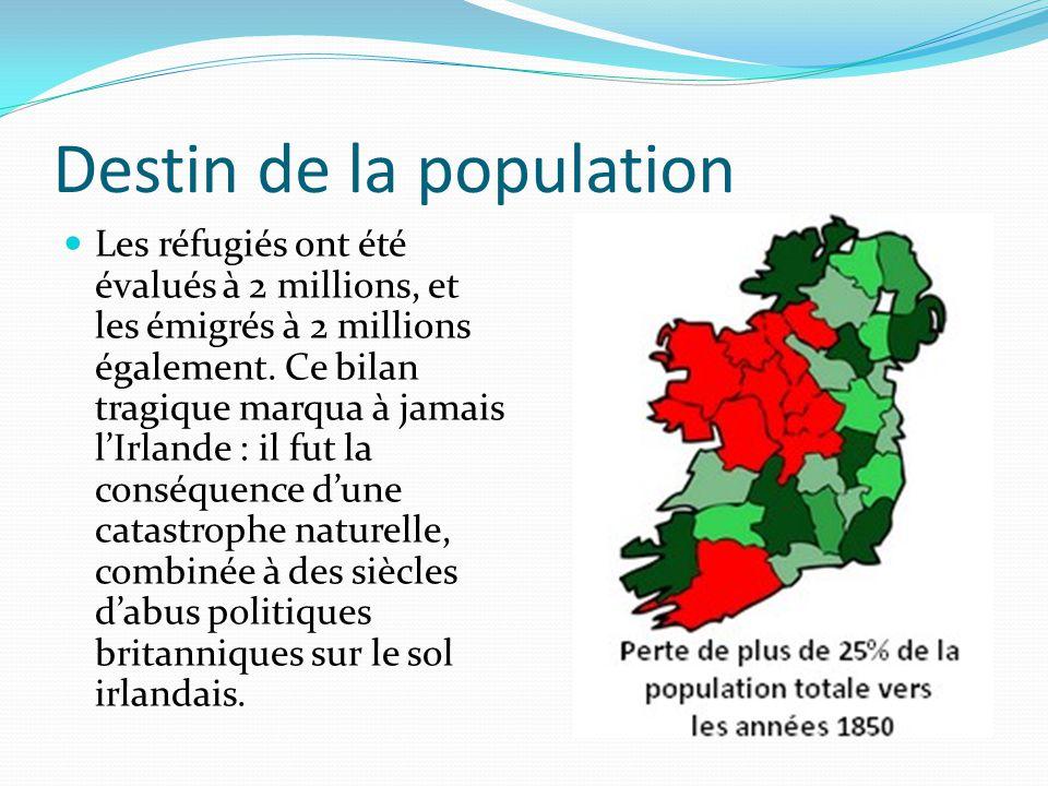 Destin de la population Les réfugiés ont été évalués à 2 millions, et les émigrés à 2 millions également. Ce bilan tragique marqua à jamais lIrlande :