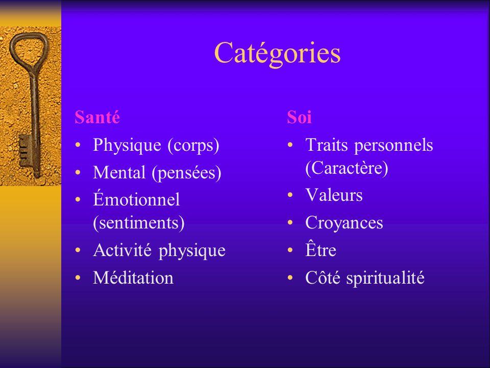 Catégories Santé Physique (corps) Mental (pensées) Émotionnel (sentiments) Activité physique Méditation Soi Traits personnels (Caractère) Valeurs Croyances Être Côté spiritualité