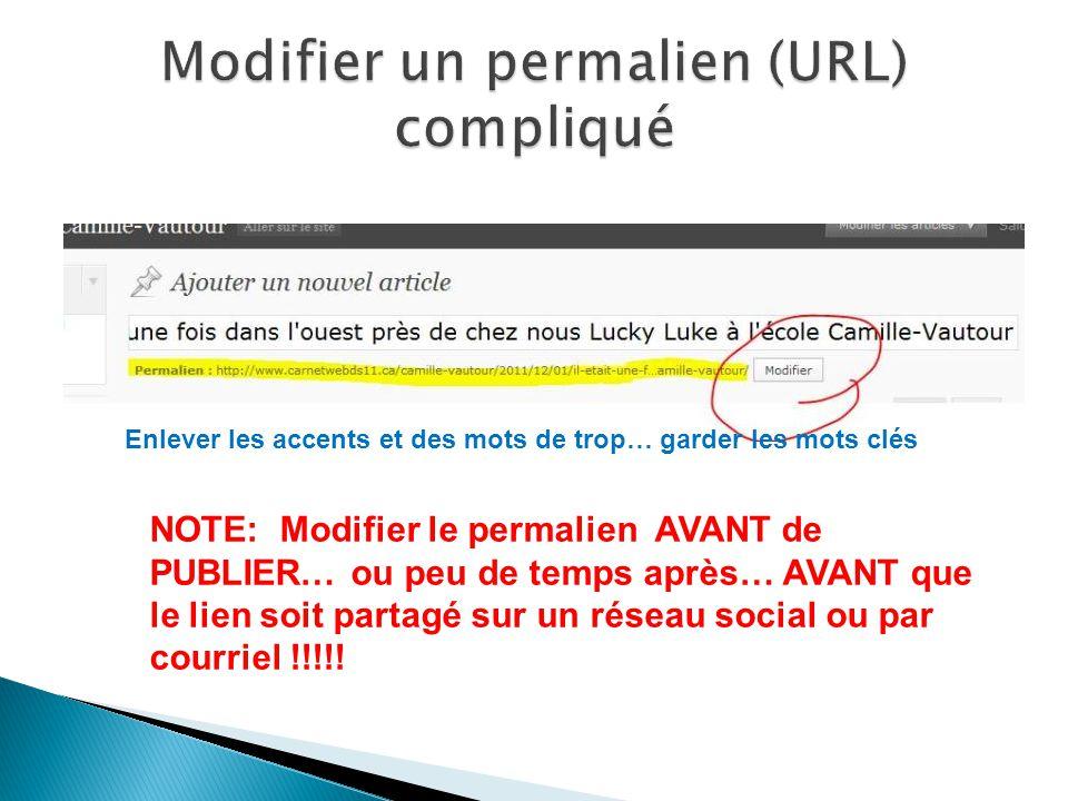 NOTE: Modifier le permalien AVANT de PUBLIER… ou peu de temps après… AVANT que le lien soit partagé sur un réseau social ou par courriel !!!!.