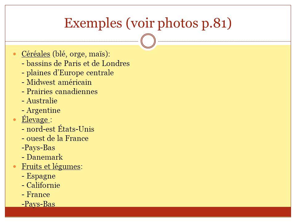Exemples (voir photos p.81) Céréales (blé, orge, maïs): - bassins de Paris et de Londres - plaines dEurope centrale - Midwest américain - Prairies can