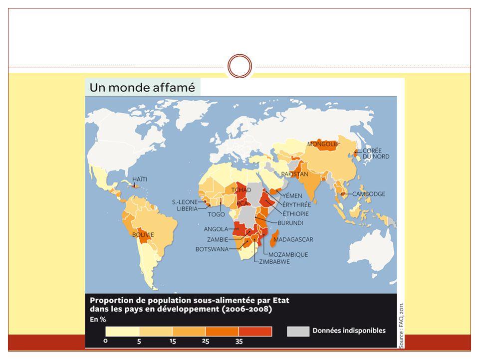 C) Des excédents mal répartis Lagriculture moderne des pays industrialisés (États- Unis, Canada, Europe et Australie) est excédentaire.