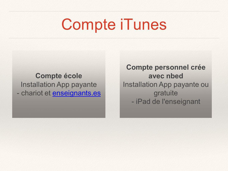 Compte iTunes Compte école Installation App payante - chariot et enseignants.esenseignants.es Compte personnel crée avec nbed Installation App payante ou gratuite - iPad de l enseignant