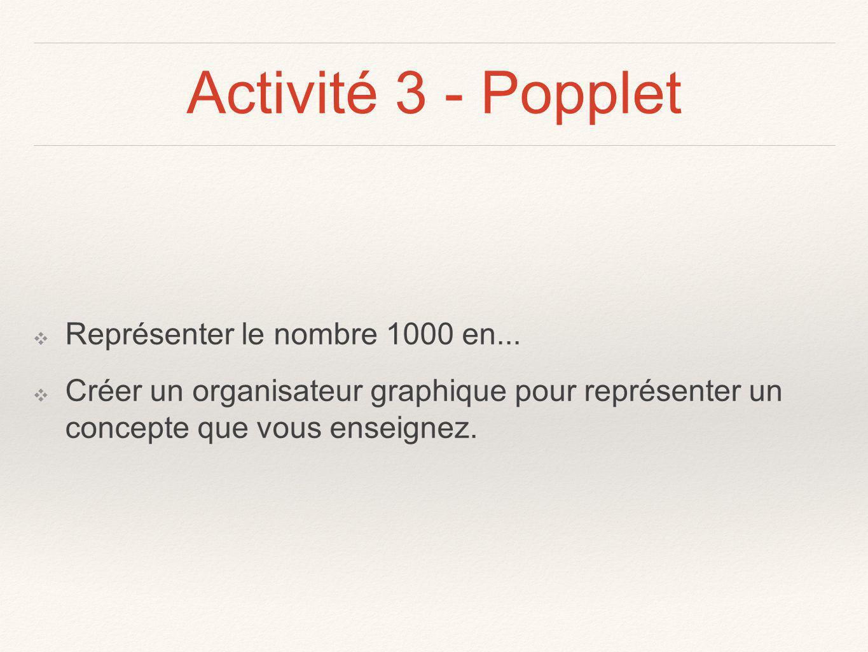 Activité 3 - Popplet Représenter le nombre 1000 en...