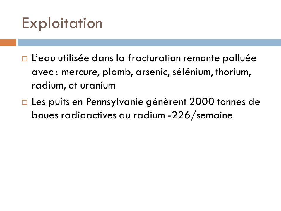 Exploitation Leau utilisée dans la fracturation remonte polluée avec : mercure, plomb, arsenic, sélénium, thorium, radium, et uranium Les puits en Pen