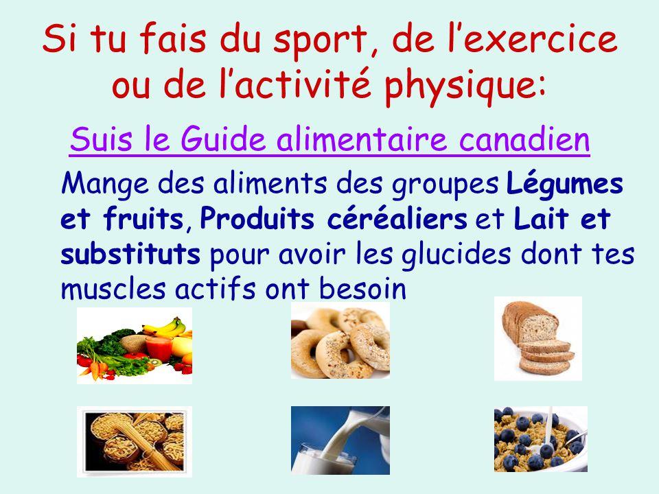 Si tu fais du sport, de lexercice ou de lactivité physique: Suis le Guide alimentaire canadien Mange des aliments des groupes Légumes et fruits, Produ