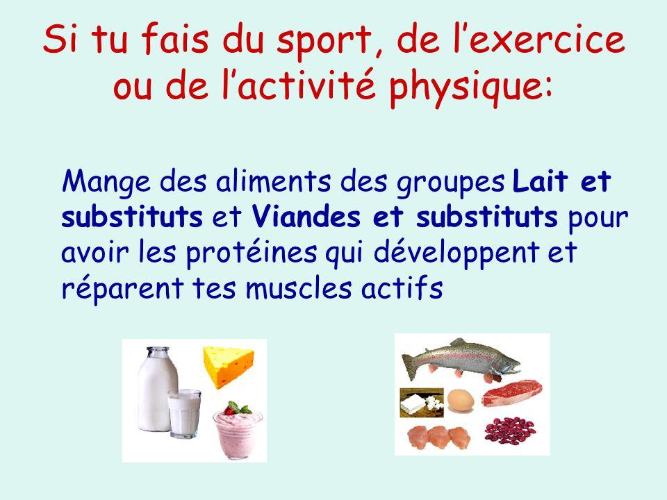 Si tu fais du sport, de lexercice ou de lactivité physique: Mange des aliments des groupes Lait et substituts et Viandes et substituts pour avoir les