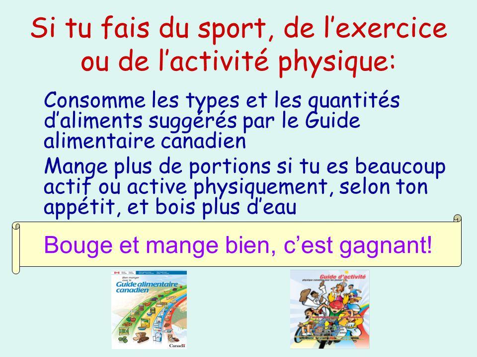 Si tu fais du sport, de lexercice ou de lactivité physique: Consomme les types et les quantités daliments suggérés par le Guide alimentaire canadien M