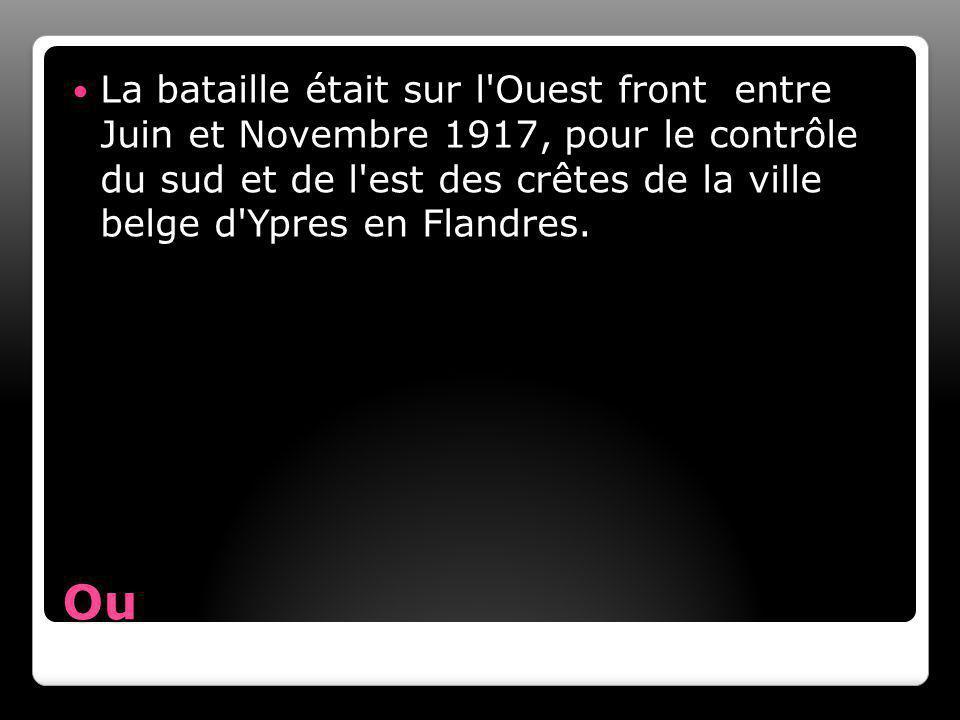 Ou La bataille était sur l Ouest front entre Juin et Novembre 1917, pour le contrôle du sud et de l est des crêtes de la ville belge d Ypres en Flandres.