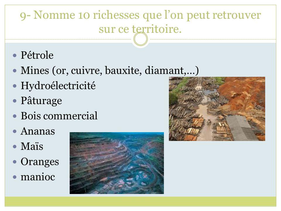 9- Nomme 10 richesses que lon peut retrouver sur ce territoire. Pétrole Mines (or, cuivre, bauxite, diamant,…) Hydroélectricité Pâturage Bois commerci