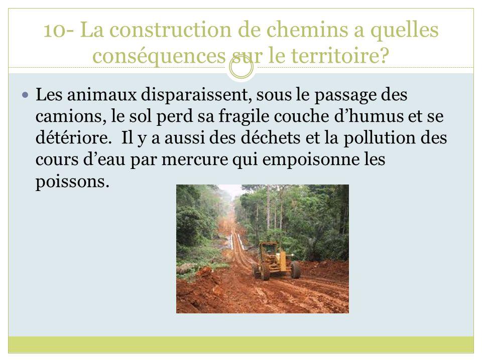 10- La construction de chemins a quelles conséquences sur le territoire? Les animaux disparaissent, sous le passage des camions, le sol perd sa fragil