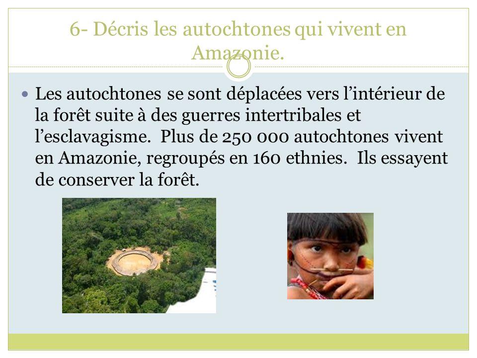 6- Décris les autochtones qui vivent en Amazonie. Les autochtones se sont déplacées vers lintérieur de la forêt suite à des guerres intertribales et l