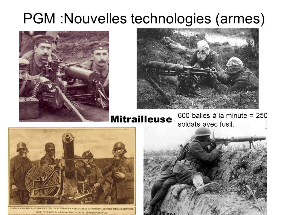PGM :Nouvelles technologies (armes) Mitrailleuse 600 balles à la minute = 250 soldats avec fusil.