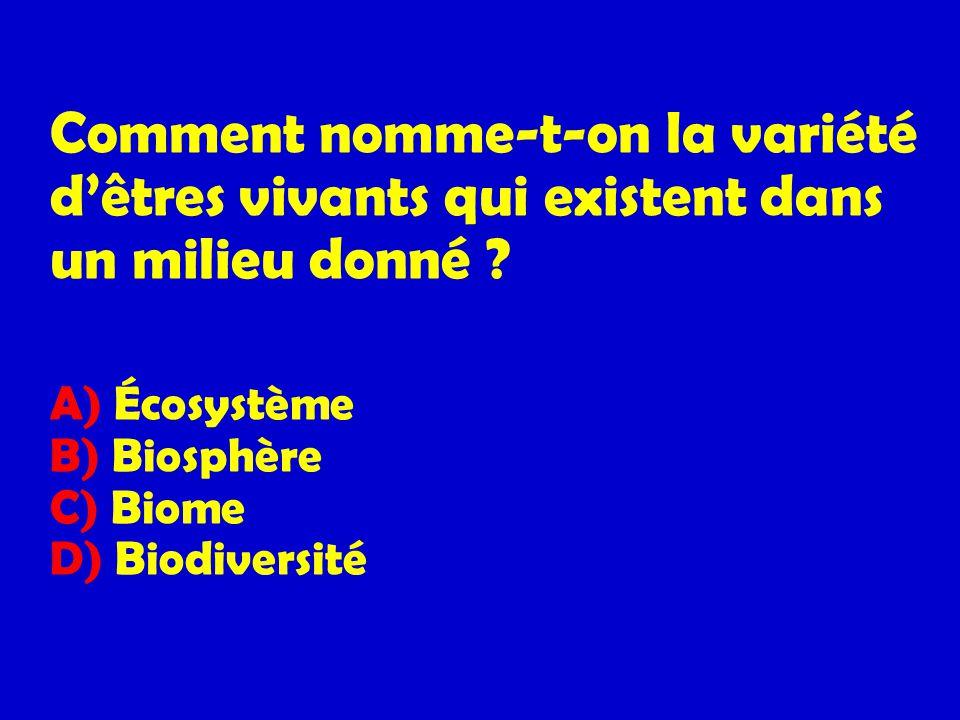 Comment nomme-t-on la variété dêtres vivants qui existent dans un milieu donné ? A) Écosystème B) Biosphère C) Biome D) Biodiversité
