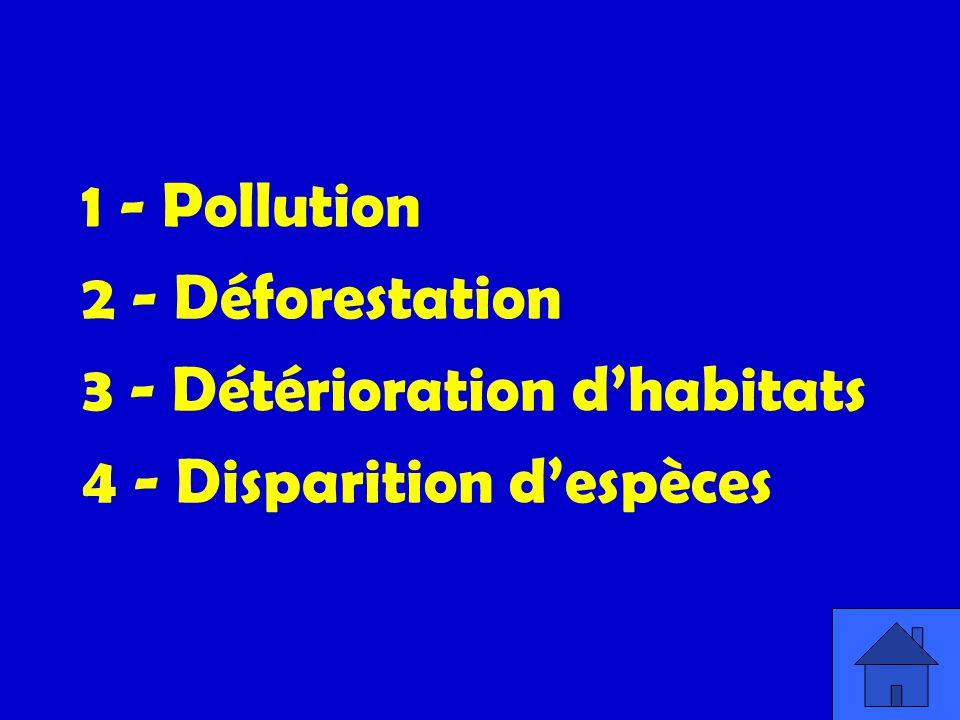 1 - Pollution 2 - Déforestation 3 - Détérioration dhabitats 4 - Disparition despèces