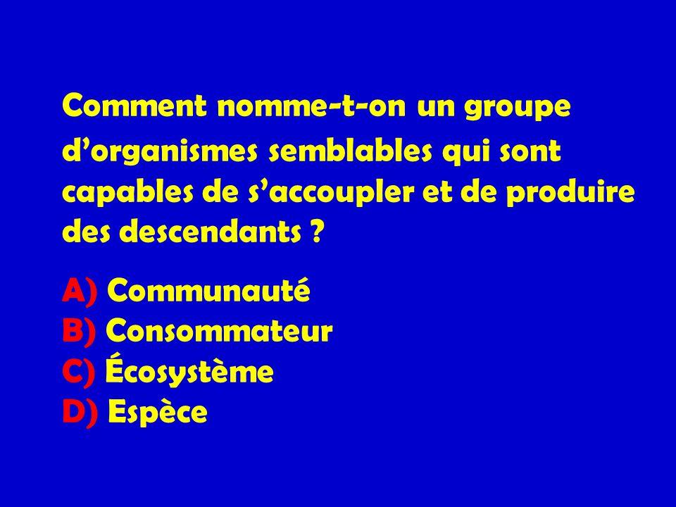 Comment nomme-t-on un groupe dorganismes semblables qui sont capables de saccoupler et de produire des descendants ? A) Communauté B) Consommateur C)