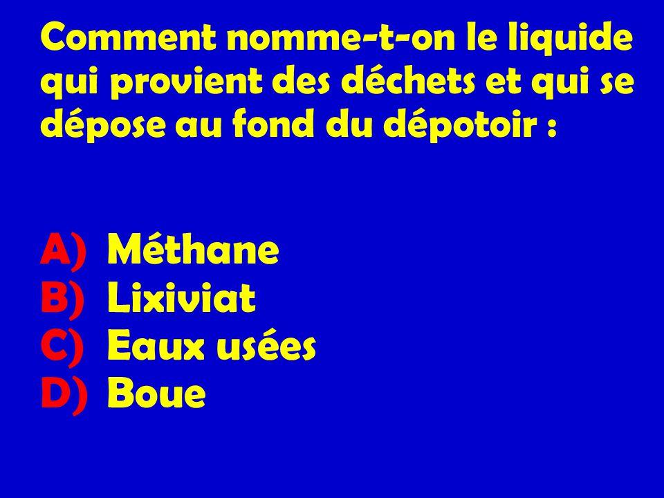 Comment nomme-t-on le liquide qui provient des déchets et qui se dépose au fond du dépotoir : A) Méthane B) Lixiviat C) Eaux usées D) Boue