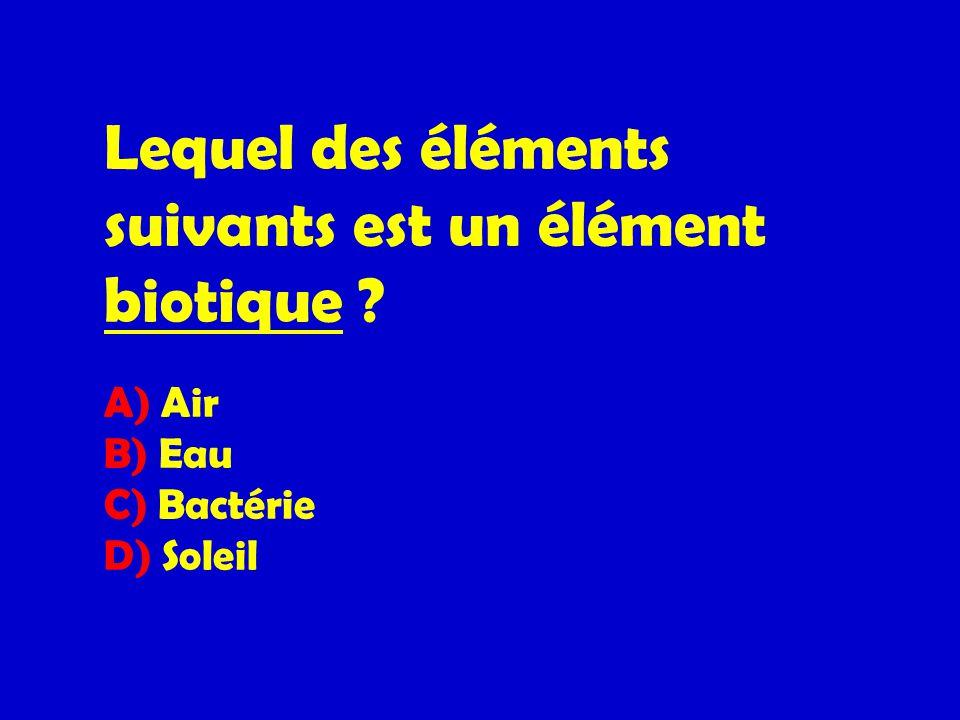 Lequel des éléments suivants est un élément biotique ? A) Air B) Eau C) Bactérie D) Soleil