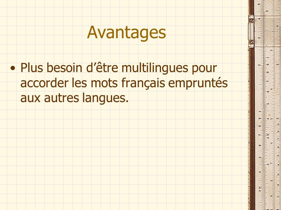 Avantages Plus besoin dêtre multilingues pour accorder les mots français empruntés aux autres langues.