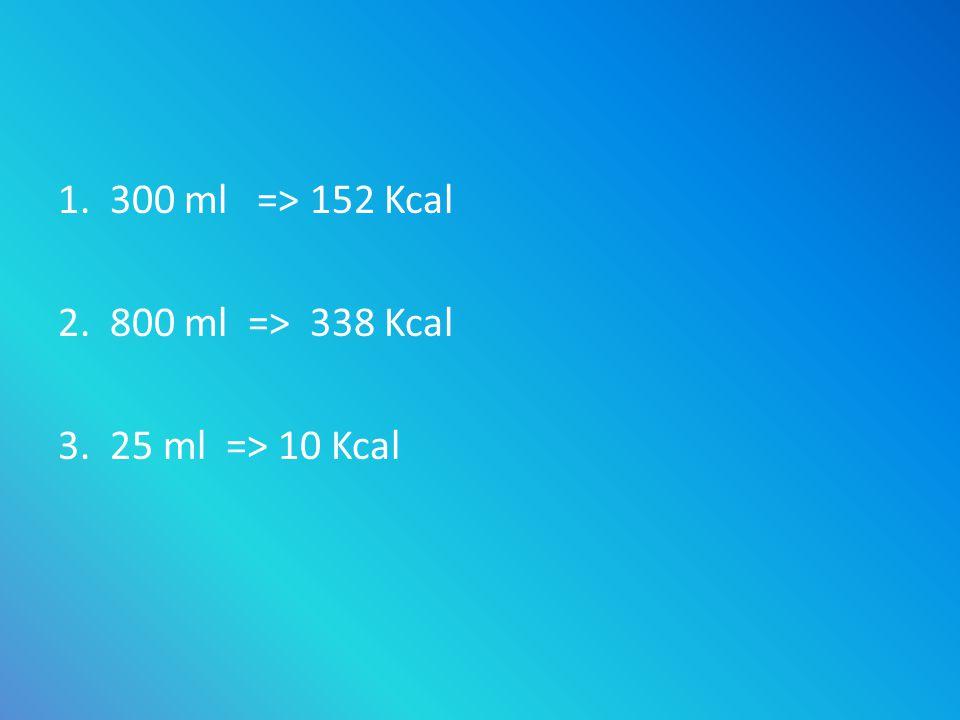 1. 300 ml => 152 Kcal 2. 800 ml => 338 Kcal 3. 25 ml => 10 Kcal