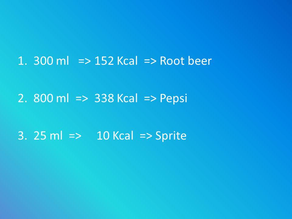 1. 300 ml => 152 Kcal => Root beer 2. 800 ml => 338 Kcal => Pepsi 3. 25 ml => 10 Kcal => Sprite