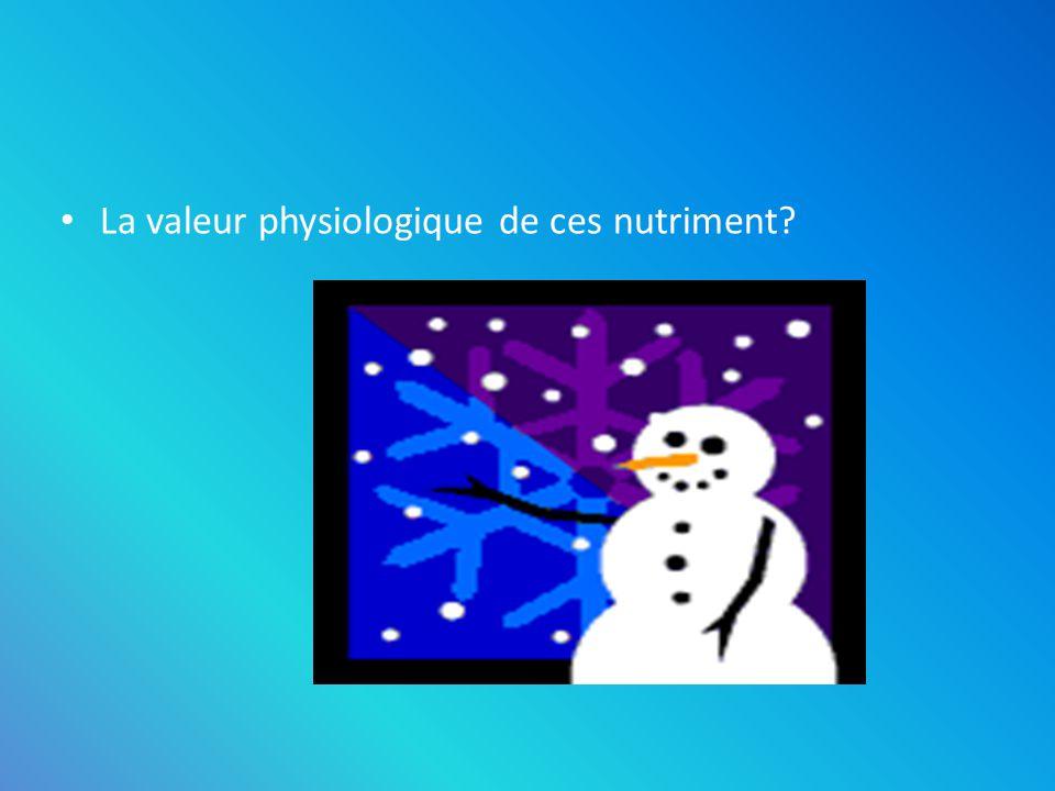 La valeur physiologique de ces nutriment? Les glucides (1g = 4 Kcal = 17 kJ) Les protéines (1g = 4 Kcal = 17 kJ) Les lipides (1g = 9 Kcal = 37 kJ)