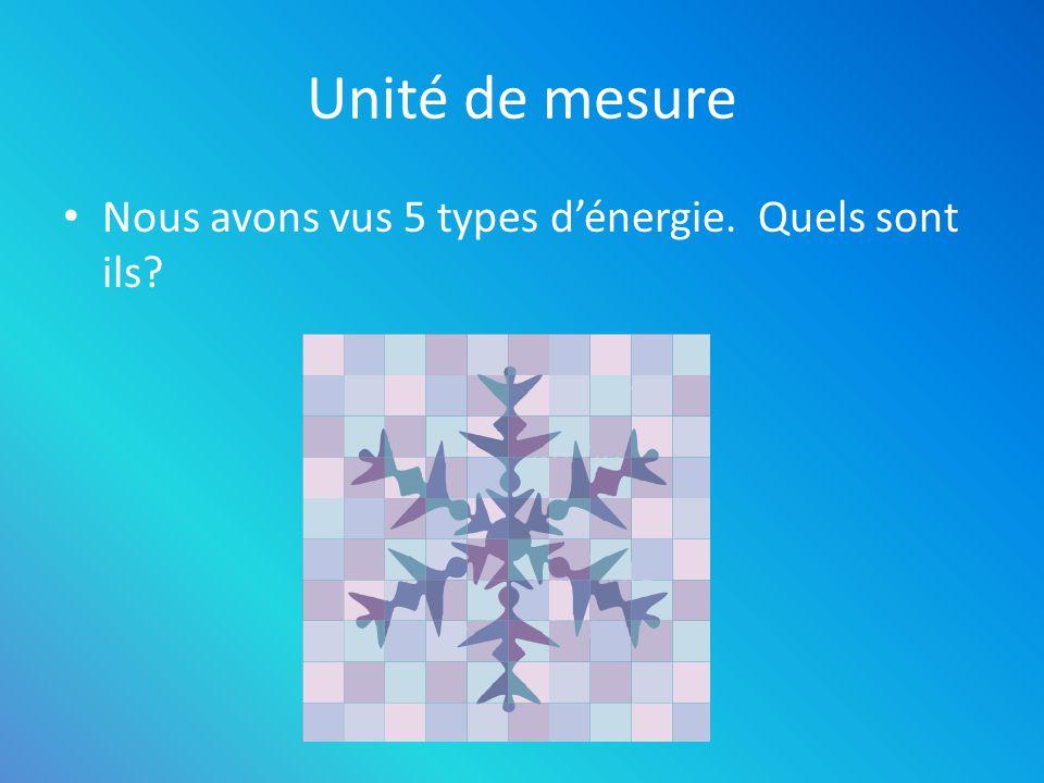 Unité de mesure Nous avons vus 5 types dénergie. Quels sont ils? – Rayonnante – Chimique – Thermique – Mécanique – Électrique