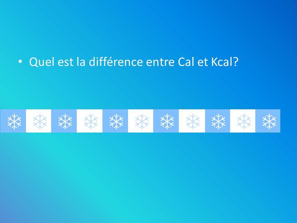 Quel est la différence entre Cal et Kcal? – Il ny en a pas, les deux signifie Kilocalorie