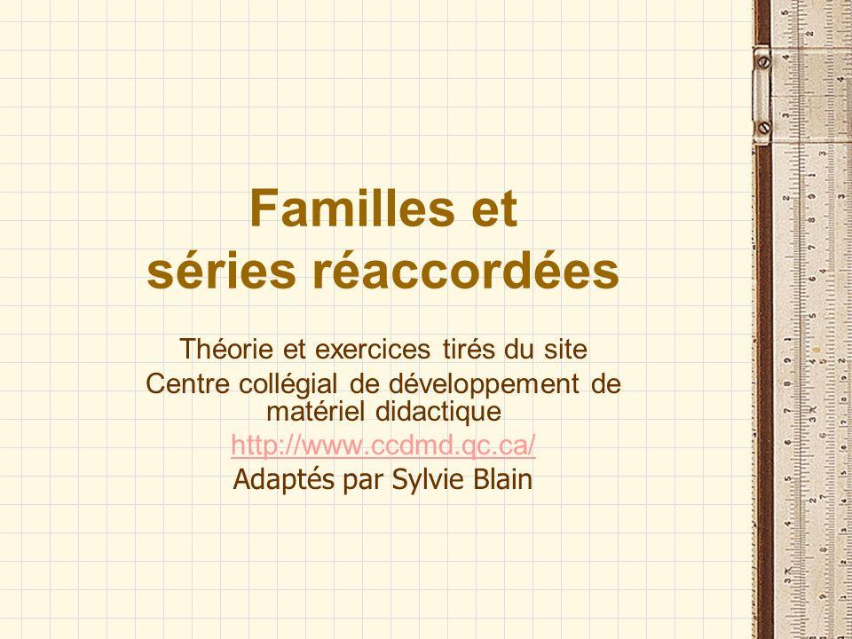 Familles et séries réaccordées Théorie et exercices tirés du site Centre collégial de développement de matériel didactique http://www.ccdmd.qc.ca/ Ada