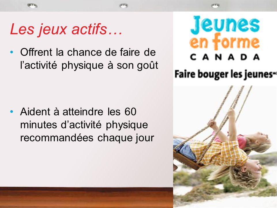Les jeux actifs… Offrent la chance de faire de lactivité physique à son goût Aident à atteindre les 60 minutes dactivité physique recommandées chaque