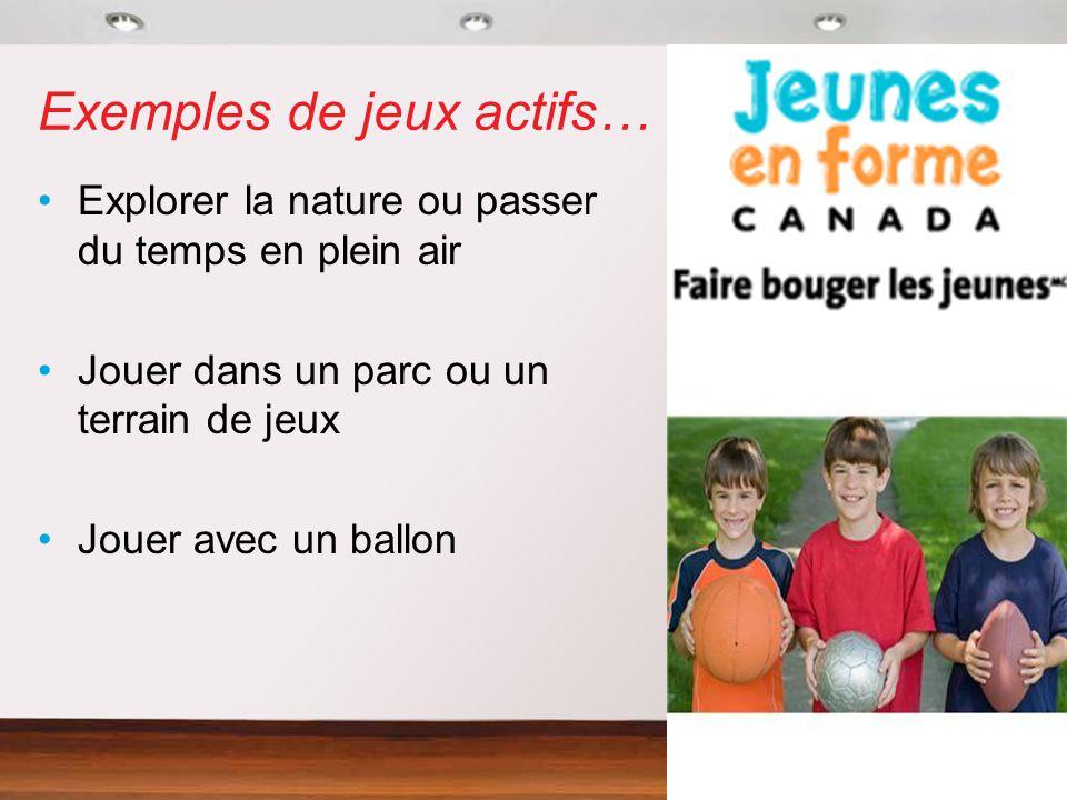 Exemples de jeux actifs… Explorer la nature ou passer du temps en plein air Jouer dans un parc ou un terrain de jeux Jouer avec un ballon