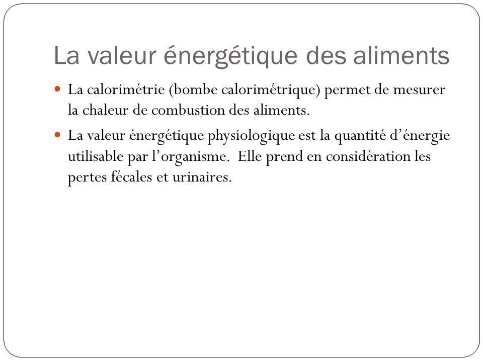 La valeur énergétique des aliments La calorimétrie (bombe calorimétrique) permet de mesurer la chaleur de combustion des aliments. La valeur énergétiq