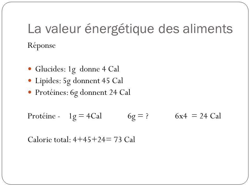 La valeur énergétique des aliments Réponse Glucides: 1g donne 4 Cal Lipides: 5g donnent 45 Cal Protéines: 6g donnent 24 Cal Protéine - 1g = 4Cal6g = ?