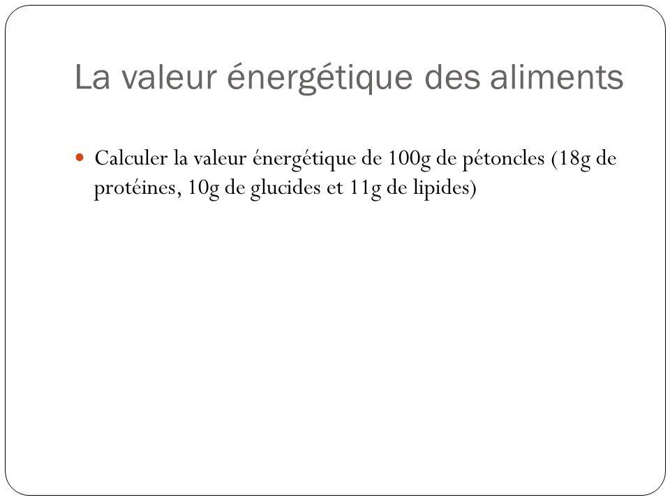 La valeur énergétique des aliments Calculer la valeur énergétique de 100g de pétoncles (18g de protéines, 10g de glucides et 11g de lipides)