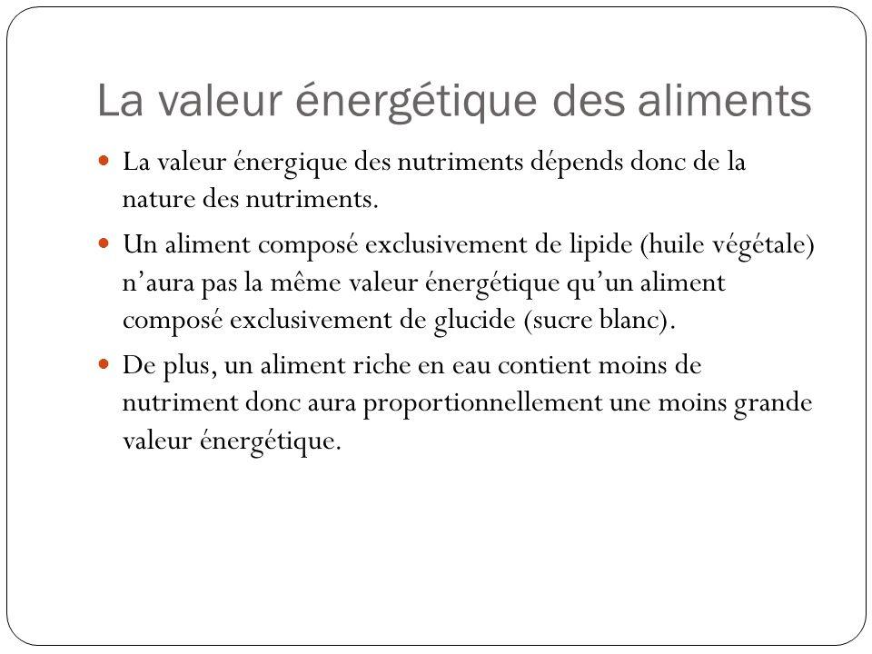 La valeur énergétique des aliments La valeur énergique des nutriments dépends donc de la nature des nutriments. Un aliment composé exclusivement de li