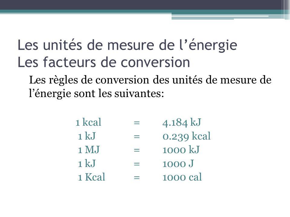Les unités de mesure de lénergie Les facteurs de conversion Les règles de conversion des unités de mesure de lénergie sont les suivantes: 1 kcal=4.184