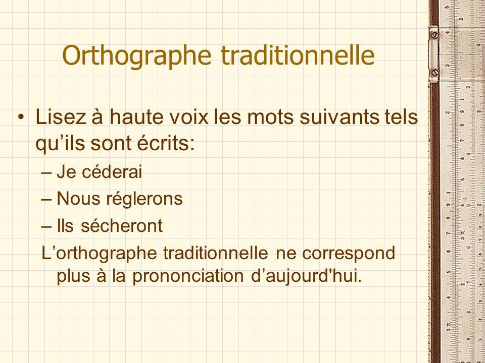 Orthographe traditionnelle Lisez à haute voix les mots suivants tels quils sont écrits: –Je céderai –Nous réglerons –Ils sécheront Lorthographe tradit