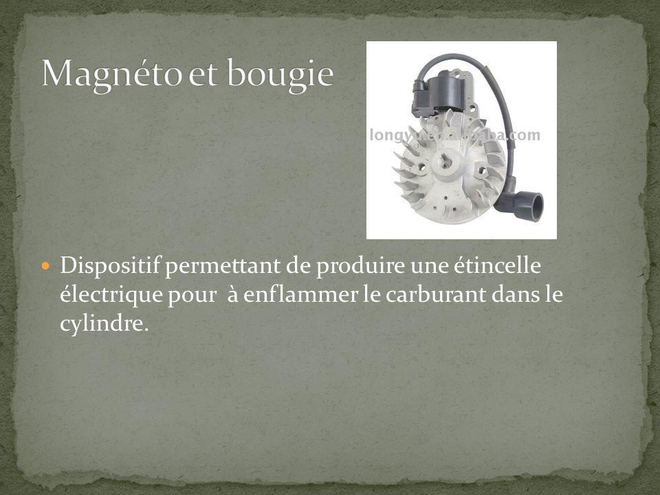 Dispositif permettant de produire une étincelle électrique pour à enflammer le carburant dans le cylindre.
