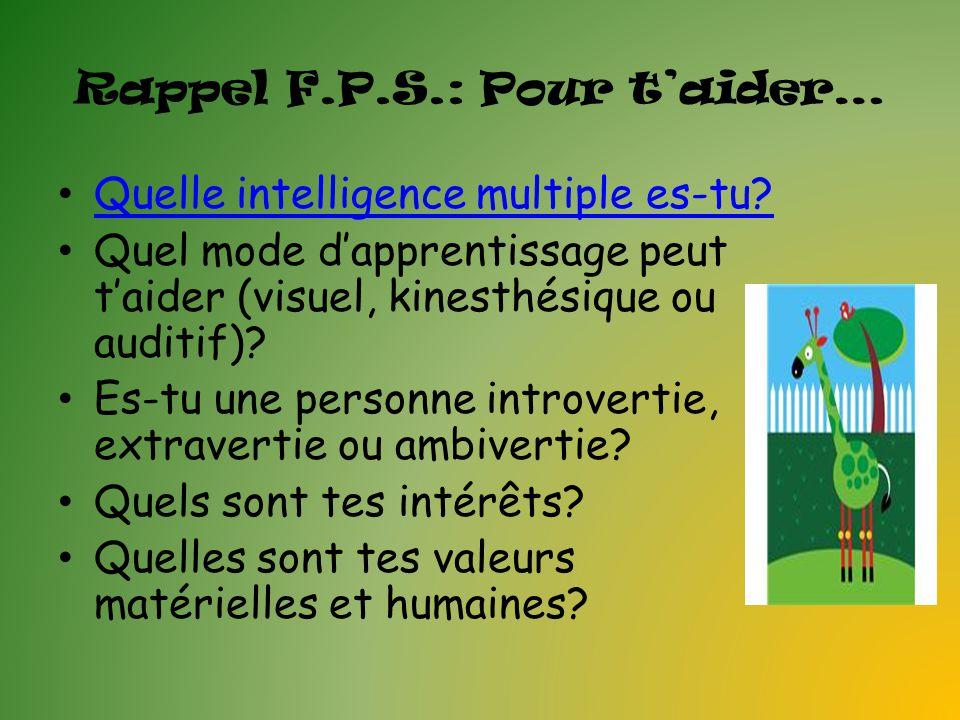 Rappel F.P.S.: Pour taider… Quelle intelligence multiple es-tu? Quel mode dapprentissage peut taider (visuel, kinesthésique ou auditif)? Es-tu une per