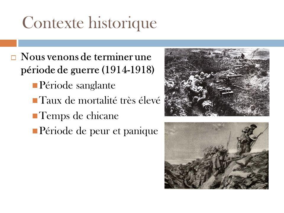 Contexte historique Nous venons de terminer une période de guerre (1914-1918) Période sanglante Taux de mortalité très élevé Temps de chicane Période