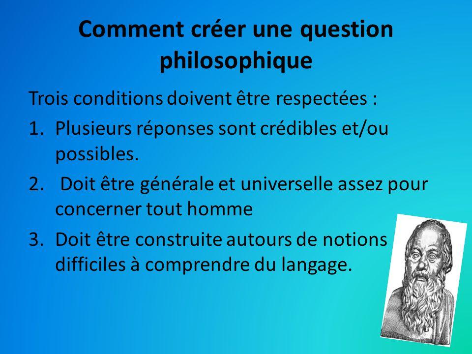 Comment créer une question philosophique Trois conditions doivent être respectées : 1.Plusieurs réponses sont crédibles et/ou possibles. 2. Doit être