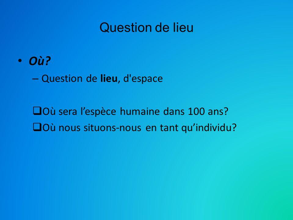 Question de lieu Où.– Question de lieu, d espace Où sera lespèce humaine dans 100 ans.