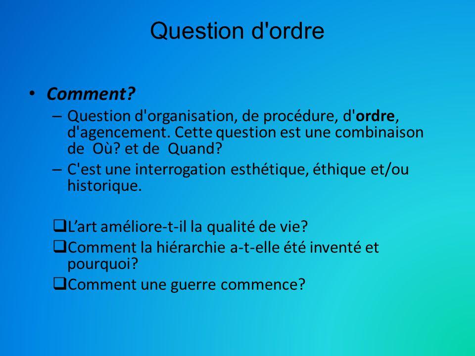 Question d'ordre Comment? – Question d'organisation, de procédure, d'ordre, d'agencement. Cette question est une combinaison de Où? et de Quand? – C'e