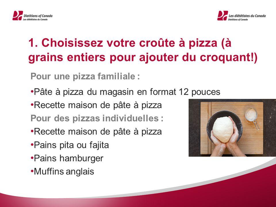1. Choisissez votre croûte à pizza (à grains entiers pour ajouter du croquant!) Pour une pizza familiale : Pâte à pizza du magasin en format 12 pouces